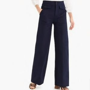 J. Crew Officer Patched Navy Blue Wide Leg Pants